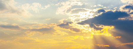panorama of gorgeous sky with sun in clouds. lovely sunny background Stock Photo - 113389041