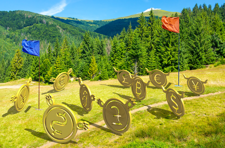 currency wars. bulls vs bears, bitcoin leading the team. battle on the hill near the forest. capture the flag concept. lovely summer landscape with mountain in the distance Фото со стока - 113389056