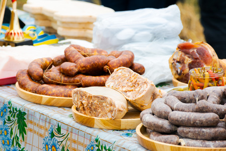 Pork butchers competition. traditional sausages from pork on the table Stock Photo