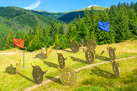 currency wars. bulls vs bears, bitcoin leading the team. battle on the hill near the forest. capture the flag concept. lovely summer landscape with mountain in the distance Фото со стока