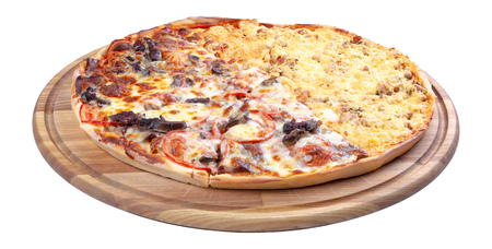 double topping pizza for couples on the wooden desk isolated. three quarter view. cheese and chicken vs beef and tomato, find your favorite