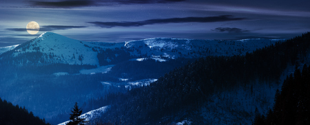 panorama of mountain ridge and forested hills at night in full moon light. lovely winter scenery Stock Photo - 113389567