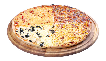 quadruple topping family pizza on the wooden desk isolated. three quarter view. sausage vs pork and corn vs mushrooms vs olives, in different kind of cheese. find your favorite