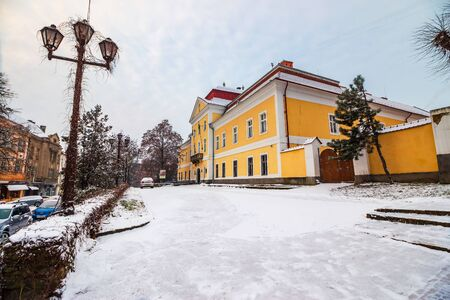 Uzhgorod, Ukraine - JAN 01, 2016: Transcarpathian regional museum of arts named after Yosyp Bokshay. wonderful cityscape in winter