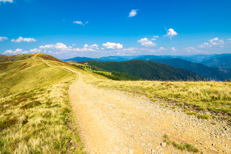 path on top of a mountain ridge. lovely summer landscape. travel concept
