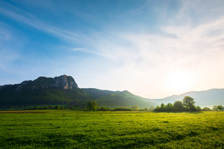 beautiful sunrise in mountains. wonderful springtime scenery with trees on a grassy meadow and huge rocky formation in the distance. clouds on a blue sky. location Piatra Secuiului, Romania Stock Photo - 113787388