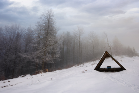 shed on a snowy meadow. foggy morning in forest. trees in hoarfrost beneath a heavy cloudy sky