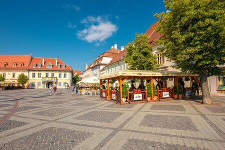 Sibiu, Romania - MAY 25, 2017. beautiful architecture of Large Square (Piata Mare)