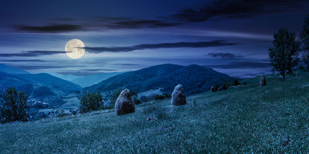 haystacks on a grassy hill in summer at night in full moon light. beautiful summer landscape in mountains. carpathian countryside. wonderful weather. village down in the valley