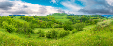 beautiful countryside panorama in springtime. grassy hills and meadows. trees with green foliage on hillsides. mountain top in the distance. wonderful nature scenery of Carpathians Stock Photo - 115465507