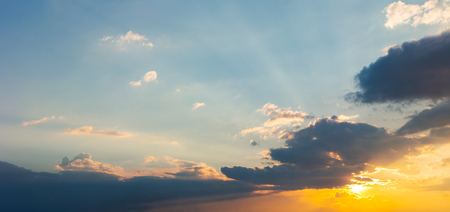 panorama of beautiful cloudscape at sunset. wonderful sky background 스톡 콘텐츠