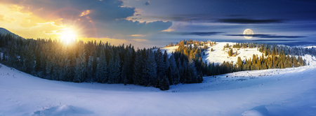 panorama of day and night time change above winter landscape. spruce forest on a snow covered hills. part of trees in the shade. wonderful nature scenery in mountains with sun and moon