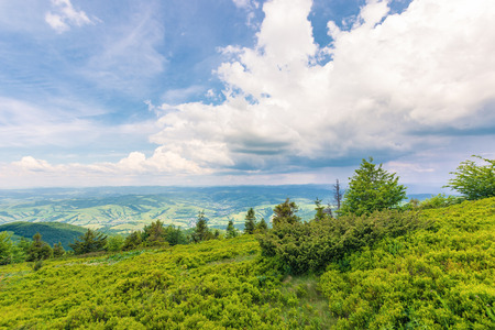 view in to the valley from grassy hill. beautiful summer scenery in mountains. dynamic cloudscape on a blue sky. Фото со стока