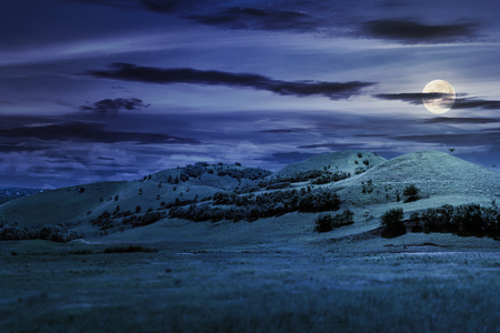 three hills in summer landscape at night in full moon light. beautiful countryside scenery.  tilt-shift and motion blur effect applied. Stock Photo