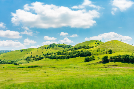 green hill in summer landscape. beautiful countryside scenery. fluffy clouds on a bright blue sky. tilt-shift and motion blur effect applied. Stock fotó - 116824713