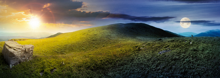 day and night time change concept above panorama of grassy hill with rock. beautiful summer landscape with sun and moon. amazing nature scenery. dramatic cloudy sky Stock Photo