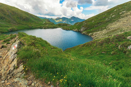 summer time in romanian carpathians. beautiful landscape of fagaras mountains. lake capra down in the valley. cloudy afternoon