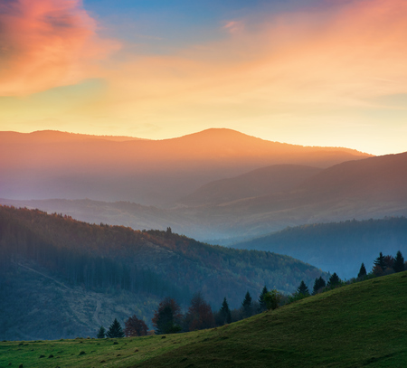 beautiful autumn scenery in mountains at sunset. red clouds on the sky, blue shade in the mountains, grassy green meadow.