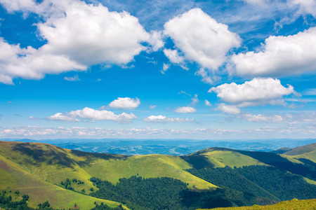 fluffy clouds above the mountain ridge. wonderful summer scenery with grassy alpine meadow. beautiful carpathian landscape Stock Photo