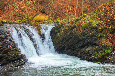 small forest waterfall in autumn. beautiful nature scenery on the river. clear water, fallen foliage and moss on the boulders Stock Photo