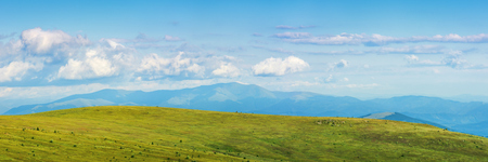 panorama of a mountain landscape in summer. beautiful scenery with fluffy clouds above the distant borzhva ridge. huge grassy alpine meadow. location runa, ukraine Stock Photo - 119823596