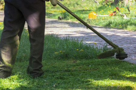 lawn mowing with brushcutter. springtime work in the park. pawed walkway. another tool lay in the grass in the distant blurred background. Stock Photo