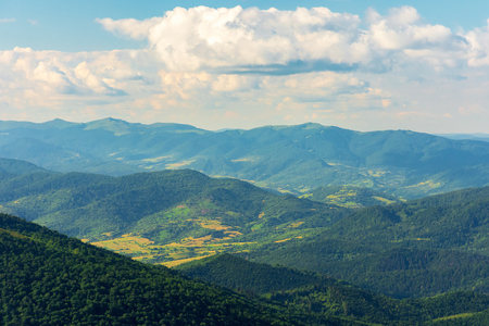 mountains, valleys and ridges of carpathians.  beautiful view of Beskid massif in summertime. Peaks of Bieszczady National Park in the distance. Stock Photo
