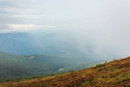 late summer adventures in mountains. beautiful landscape on a cloudy day. hills covered with weathered grass