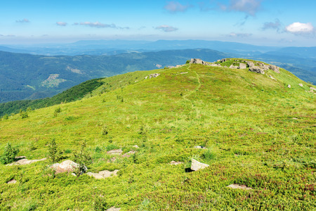 beautiful mountain landscape in summertime. green grassy hills with bunch of rocks in the distance. path through the meadow. sunny weather with fluffy clouds on a blue sky