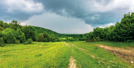panorama of a summer countryside in mountains. path through meadow between forest. cloudy sky before the storm Stock Photo