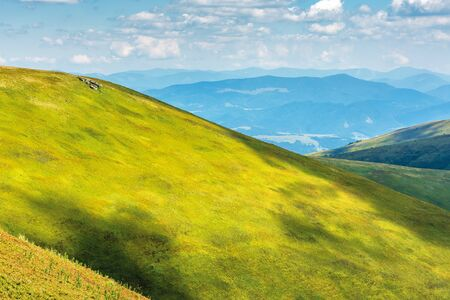 green hill and slopes in summertime. beautiful bright scenery with grassy meadows on a sunny day. fluffy clouds on the blue sky. mountain ridge in the distance on the horizon