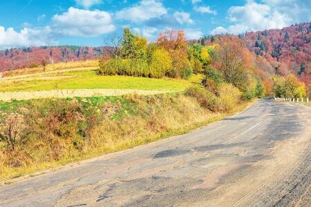 old cracked country road in autumn. traditional carpathian countryside. warm sunny day. trees in colorful foliage. green grass on the rural fields