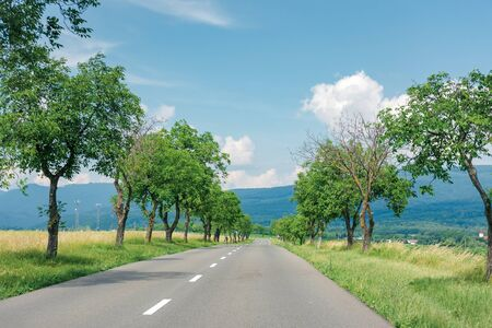asphalt road through fields in to the mountains. beautiful summer countryside scenery of slovakia. trees along the way. vihorlat range in the distance. fleacy clouds on the blue sky. motion blur Stock Photo