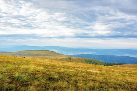 overcast weather in mountains in the morning. weathered grass on the slopes and hills. mountain range in the far distance. beautiful landscape in august. Stock Photo