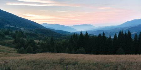 panorama of a countryside in mountains at dusk. forested hill and grassy meadows at twilight. haze in the distant valley. mountain ridge rolling in to the horizon. bright pink sky