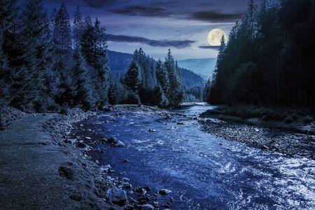 rivière de montagne serpentant à travers la forêt la nuit à la lumière de la pleine lune. beaux paysages naturels en automne. épinettes au bord du rivage. magnifique paysage du parc national de synevyr par beau temps avec des nuages