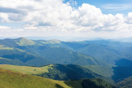 carpathian mountain summer adventure. grassy slopes and hills beneath a blue sky with fluffy clouds. wonderful sunny weather. great travel mood. location borzhava ridge, transcarpathia, ukraine