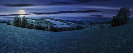 panoramic mountain landscape at night. grassy meadow on the hillside in full moon light. trees on the edge of a hill. mountain ridge in the distance. clouds on the sky Stock Photo