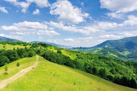 beautiful mountain landscape in summertime. footpath through forests and grassy meadow on rolling hills. ridge in the distance. amazing sunny weather with fluffy clouds on the blue sky