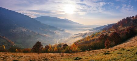 view from a mountain top in to the foggy valley. beautiful autumn landscape. forested hills in fall colors. sunrise with an amazing cloudscape. panorama of a synevyr national park district