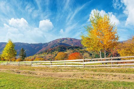 rural area in mountains. beautiful autumn weather on a sunny day. wooden fence along the country road. trees in fall foliage. ridge beneath a sky with clouds in the distance Stock Photo