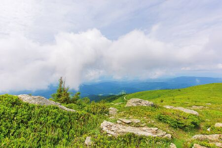 cloudy summer weather in mountains. beautiful summer scenery. rocks on the grassy meadow. hills rolling in to the distance Stock Photo