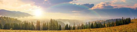 mountain panorama with forest on meadow at sunset. beautiful autumn weather. clouds and fog rising above the hills with row of spruce trees in evening light beneath a rainbow. Stock Photo