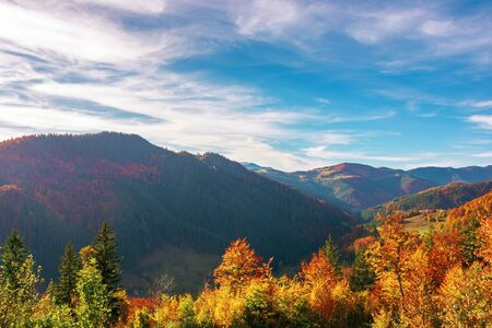 great view of romania mountain landscape. forested slopes in evening light. deciduous trees in fall foliage. warm autumn afternoon scenery beneath a gorgeous sky with clouds. village down in the distant valley Stock Photo - 130705701