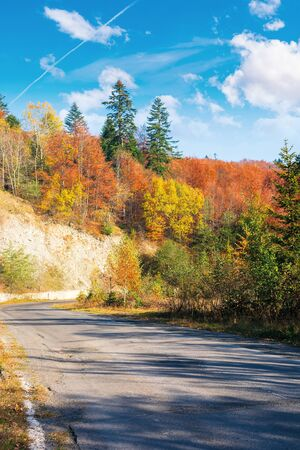 country road through forest in mountains. beautiful transportation autumn scenery in the morning. trees in colorful foliage. old cracked asphalt surface in the shade needs repair