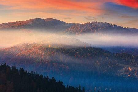 foggy dawn in mountains. fantastic nature scenery in fall season. glowing mist above the hills. magic moment in autumn Stock Photo