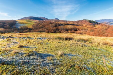 frosty morning in mountains. wonderful sunny weather of november.  countryside scenery with leafless trees on the hills. grassy meadow in hoarfrost