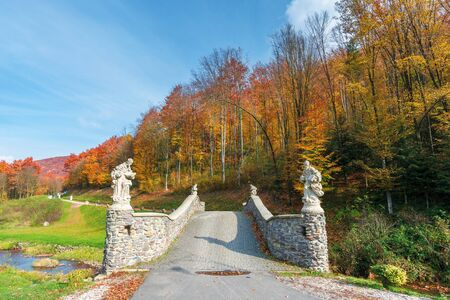 wonderful autumn scenery in the park. bridge across the forest stream. trees in colorful foliage. wonderful sunny weather with blue sky. great day for a relaxing walk