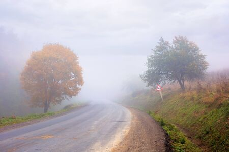 country road through forest in foggy weather. warning sign on the roadside near the trees. poor visibility is dangerous when riding fast. slow down taking the turn on the winding way.