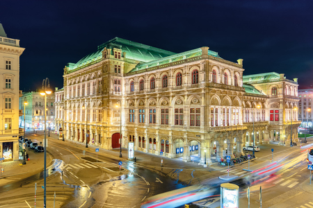 vienna state opera house in austria at night. popular tourist destination in beautiful street light. view from albertina museum balcony Editorial